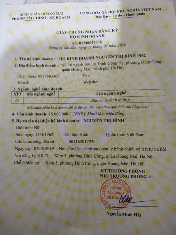 Giấy phép kinh doanh cháo lạnh Minh Huy